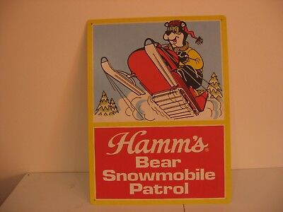 "Hamm's Bear Snowmobile Patrol Sign Winter Trees Metal 24""by 18"" Brewery Bar Beer"