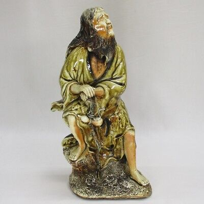 A079: RARE Japanese old HIRADO porcelain hermit statue of very good expression