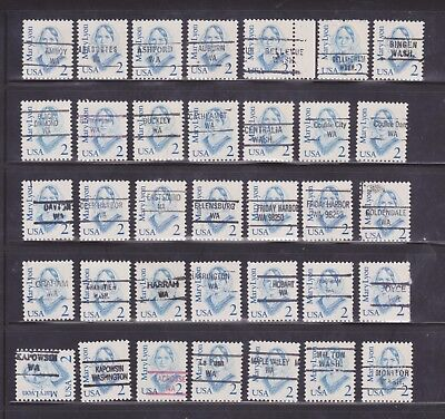 WA Precancels - Assorted Towns/Types - 2c 1980s Great American Issue - 69 Diff.