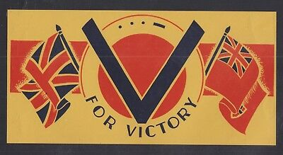 """UK & CANADA 1940s WWII 4""""x8"""" LH PATRIOTIC V FOR VICTORY LABEL"""
