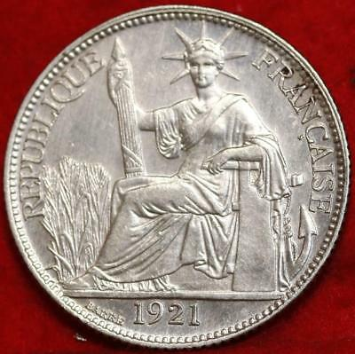 1921 French Indo China 20 Cent Silver Foreign Coin Free S/H