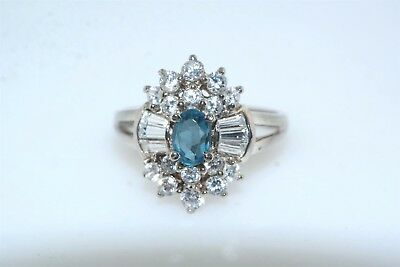 Clear & Blue CZ Sterling Silver Cocktail Ring