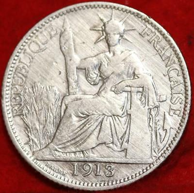 1913 French Indo China 20 Cent Silver Foreign Coin Free S/H
