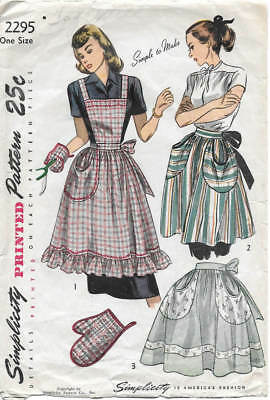 1940s One Size Apron & Oven Mitt Vintage Sewing Pattern Simplicity 2295