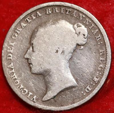1844 Great Britain 6 Pence Silver Foreign Coin Free S/H