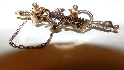 Antique 1820's Yellow Rolled Gold Crystal Paste Fern Lily Of The Valley Pin Wow