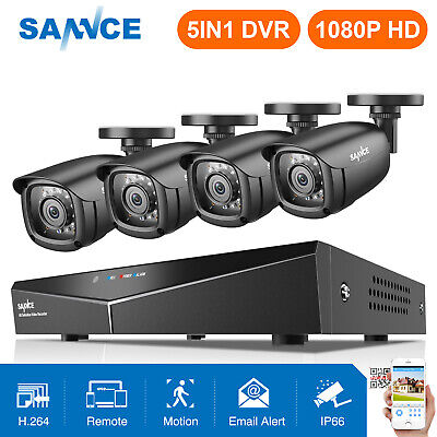 SANNCE 1080N 8CH 5IN1 H.264 DVR 720P 24IR CCTV Security Cameras System IR-CUT