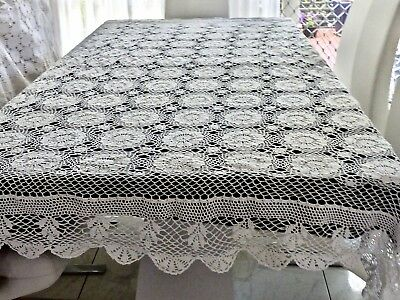 BEAUTIFUL 100% WHITE COTTON HAND CROCHET LARGE TABLECLOTH AS NEW 215 x  275 cm.