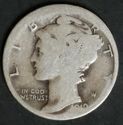 1919 S Circulated Mercury Dime Coin
