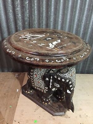 Large Heavy 19Thc Anglo-Indian Inlaid Elephant Carved Mughal Wood Table 21""