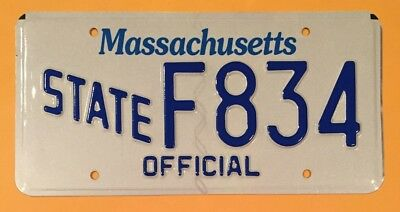 Glossy Massachusetts State Official Specialty License Plate #f•834
