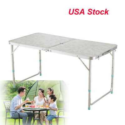 White Folding Table Centerfold 4 Foot Plastic Portable Picnic Board Easy Carry