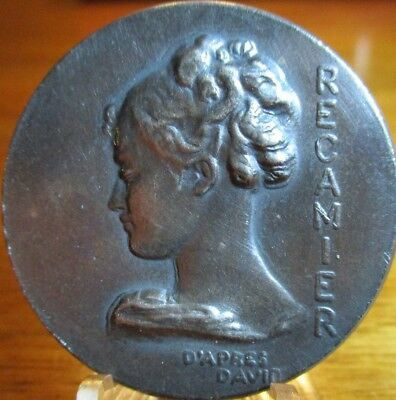 """Old French """"NOUVEAU LADY"""" SOLID Silver/plate Metal 1940s Vintage Antique Button"""
