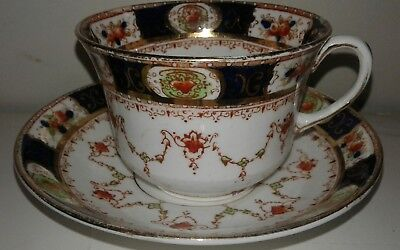 Royal Albert Crown China Teacup and Saucer Imari Style Cobalt Blue