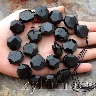 "8SE11129 16x16mm Natural Black Tourmaline  Faceted Nugget Loose Beads 15"" Strand"