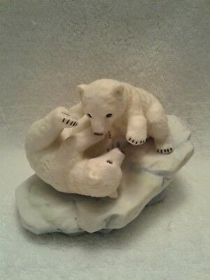 1990 Polar Expedition collection porcelain bear cubs playing figurine