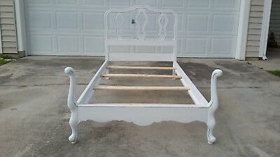 """French Provincial Mid Century Twin Size Bed Frame """"Distress White Wood"""""""