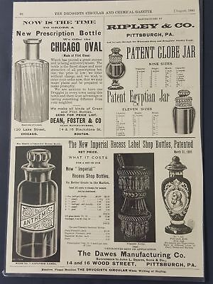 1892 antique APOTHECARY BOTTLE AD victorian pharmacy drug store