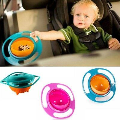 Baby Kids UFO Non Spill Gyro Feeding Toddler Bowl 360° Rotation Avoid Spilling