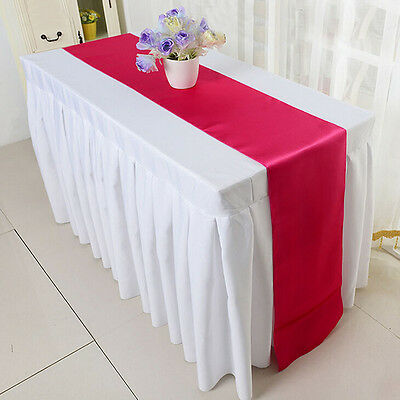 "12"" x 108""  Satin Table Runner Wedding Venue Decorations Wedding Party Xed"