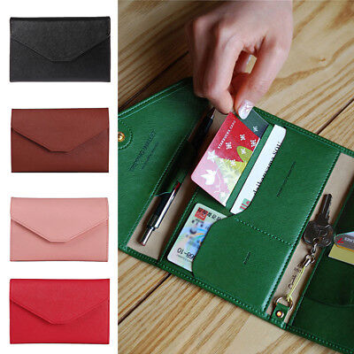 Travel Passport Card Cash Holder Wallet Faux Leather Protector Cover Purse Sweet
