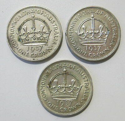 3x Australia 1937 Casey's Cartwheel Crown/Five Shillings Sterling Silver Coins