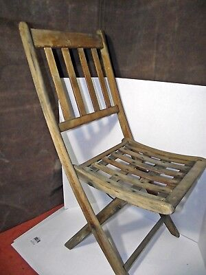 Vintage woven slat pat date 1893 Antique Wood  Wooden Folding Chairs Set of 4