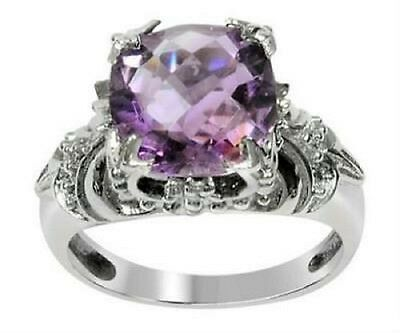 3.80 Carat Weight (Size 6)  .925 Sterling Silver Genuine Amethyst Ring