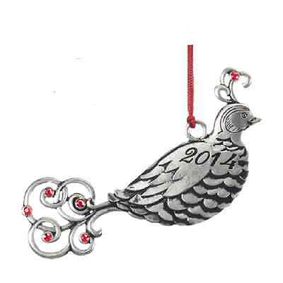 Christmas Collectible 2014 Pewter Partridge Ornament