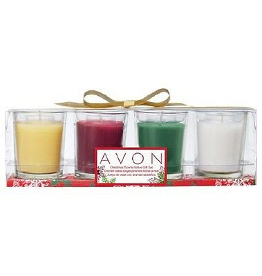 Avon Christmas Scented Votive Candles Gift Set Of 4