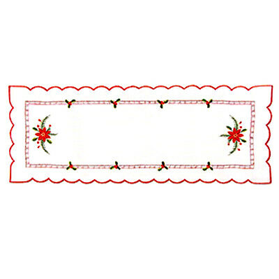 Christmas Embroidered Table Runner  12.5 X 34 Ins   ( 31.5 Cm  X  86.4 Cm )
