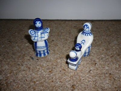 Two blue & white Russian figurines