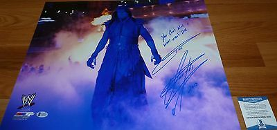 Beckett-Bas Wwe The Undertaker Autographed & Rare Inscription 16X20 Photo C18729