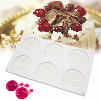 6 Cavity Spiral Shape 3D Cake Silicone Mold Mousse Mould Chocolate Pastry Baking