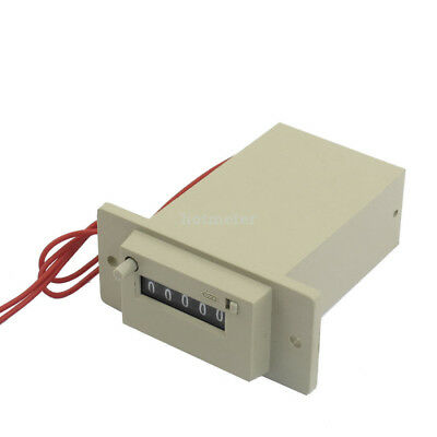 CSK5-YKW AC 110V 5 Digits 2 Red Wired Electronmagnetic Counter Gray 7.4x6.6x3cm