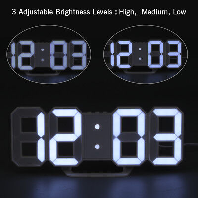 LED Digit 3D Display Alarm Wall Clock with 3levels Brightness Alarm Snooze Clock