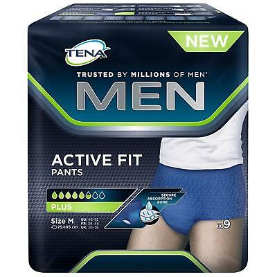 Tena Men Active Fit Pants Plus - Size Medium 9 Pack 1 2 3 6 12 Packs