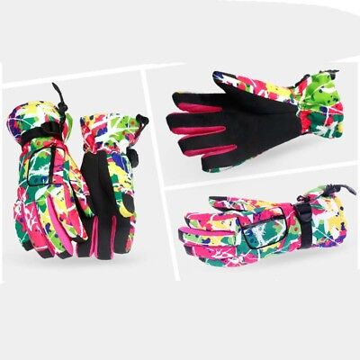 Colorful Ski Snow Waterproof Windproof Winter Warm Cotton Family Skiing Gloves