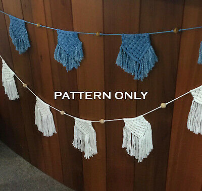MACRAME Bunting Flag PATTERN - Art/Weave/Baby Room/Wall Decor/Rope/Cord/Boho