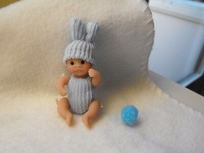 OOAK artist miniature  6 cm  jointed polymer  clay baby doll  bunny by HARRY