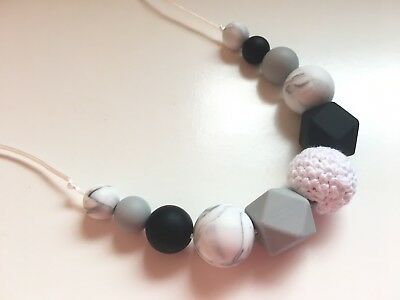 Silicone teething beads necklace nursing breastfeeding sensory BPA Free