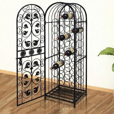 S# 45 Bottles 134cm Metal Wine Cabinet Storage Rack Holder Bar Organiser Lockabl