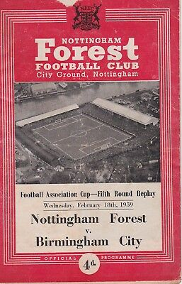 NOTTINGHAM FOREST v BIRMINGHAM CITY FA CUP 5TH ROUND REPLAY 18 FEBRUARY 1959 (1)