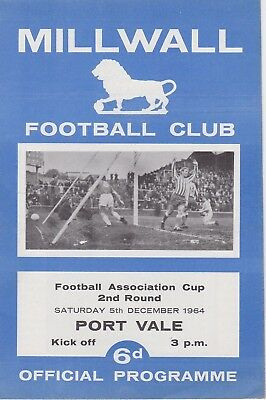 MILLWALL v PORT VALE ~ FA CUP 2ND ROUND REPLAY ~ 5 DECEMBER 1964