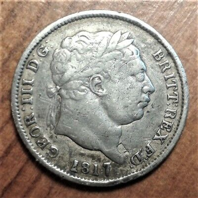 1817 George III Silver Shilling: (variety with over-sized '7' in date)