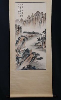 Fabulous Large Rare Old Chinese Scroll Hand Painting Landscape YuJi Marks PP631