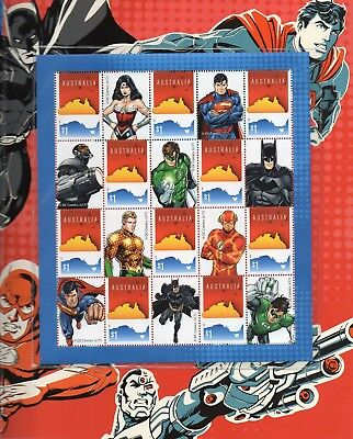 Set Of 20 Justice League Australian Postal Stamps In Display Folder Mint