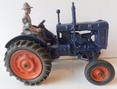 BRITAINS 1940s-1950s  No128F FORDSON TRACTOR WITH DRIVER- RUBBER TYRES