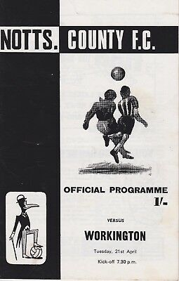 NOTTS OCUNTY v WORKINGTON ~ DIVISION 4 FOOTBALL PROGRAMME ~ 21 APRIL 1970