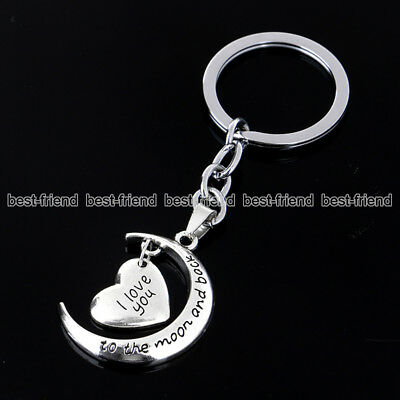 Hot Sale I Love You To The Moon And Back Vintage Silver Moon Key Ring Chain Gift